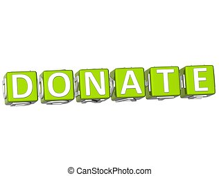 Donate Cube text - 3D Donate Cube text on white background