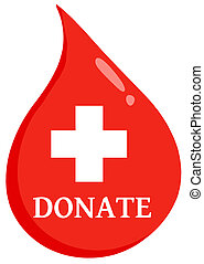Red Blood Drop With Medicine Simbol And Text Donate