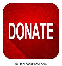 donate flat icon, christmas button