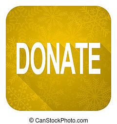 donate flat icon, gold christmas button