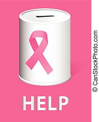 Donate for breast cancer research a - Donation can with a...