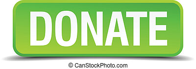Donate green 3d realistic square isolated button