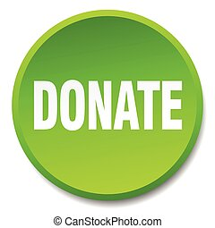 donate green round flat isolated push button