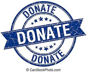 donate grunge retro blue isolated ribbon stamp