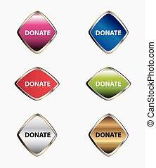 Donate icon set vector