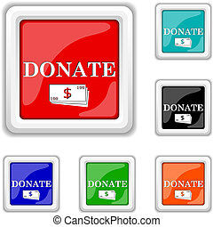 Donate icon - Square shiny icons - six colors vector set -...
