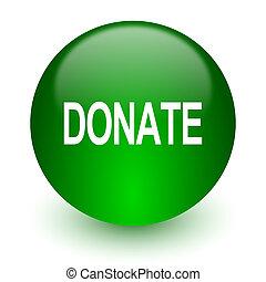 donate icon - green glossy web icon