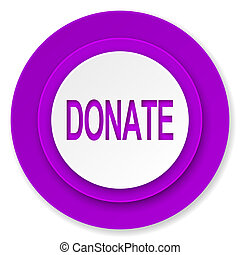 donate icon, violet button
