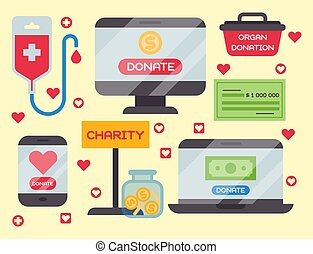 Donate money box set symbols help philanthropy donation contribution charity philanthropy humanity support vector.