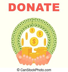 Donate money concept. Flat vector cartoon illustration. Objects isolated on white background.