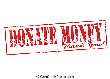 Rubber stamp with text donate money inside, vector illustration
