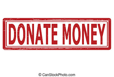 Stamp with text donate money inside, vector illustration