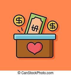 Donate money vector icon