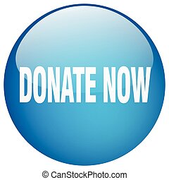 donate now blue round gel isolated push button