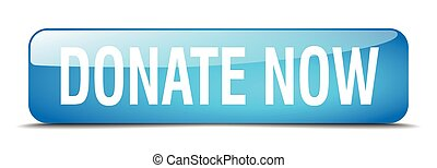 donate now blue square 3d realistic isolated web button