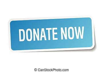 donate now blue square sticker isolated on white