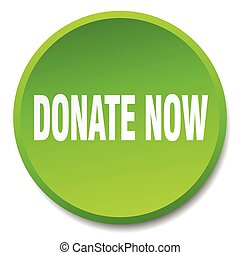 donate now green round flat isolated push button