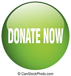 donate now green round gel isolated push button