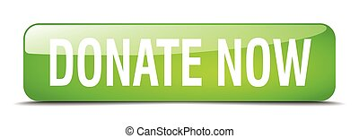 donate now green square 3d realistic isolated web button