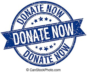 donate now grunge retro blue isolated ribbon stamp