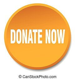 donate now orange round flat isolated push button