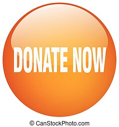 donate now orange round gel isolated push button