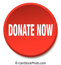 donate now red round flat isolated push button