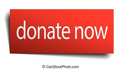 donate now red square isolated paper sign on white
