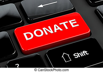 Donate, on computer keyboard background