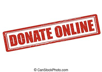 Donate on line - Rubber stamp with text donate on line...