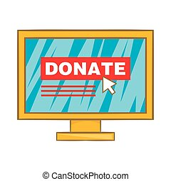 Donate online concept icon, cartoon style