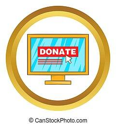 Donate online concept  icon