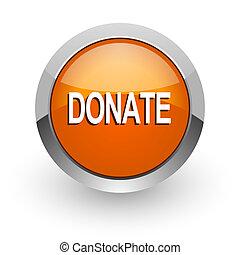 donate orange glossy web icon