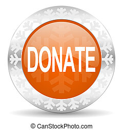 donate orange icon, christmas button