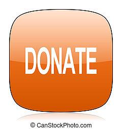 donate orange square web design glossy icon
