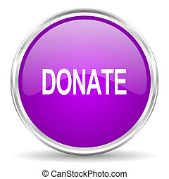 donate pink glossy icon - violet - silver circle web icon