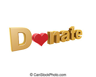donate red heart symbol isolated on white background
