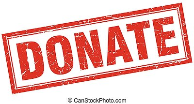 donate red square grunge stamp on white