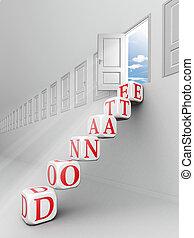 donate red word on blocks up to open door