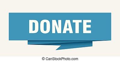 donate sign. donate paper origami speech bubble. donate tag. donate banner