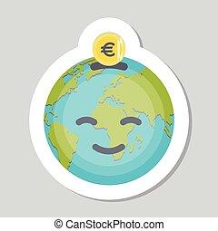 Donate sticker with Earth emoji