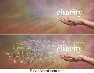 Donate to Charity Campaign - Woman's outstretched open hand...