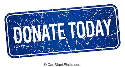 donate today blue square grunge textured isolated stamp
