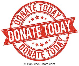 donate today grunge retro red isolated ribbon stamp