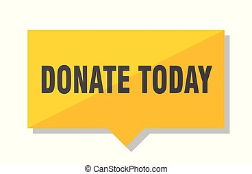 donate today yellow square price tag