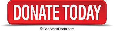 donate today red 3d square button isolated on white ...