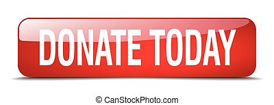 donate today red square 3d realistic isolated web button