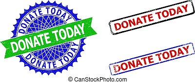 DONATE TODAY Rosette and Rectangle Bicolor Stamp Seals with Grunge Surfaces