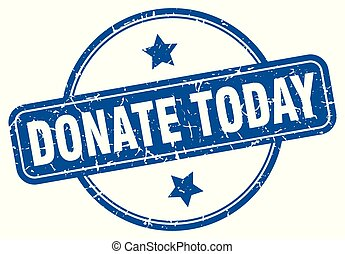 donate today round grunge isolated stamp