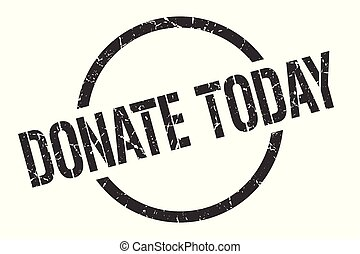 donate today black round stamp